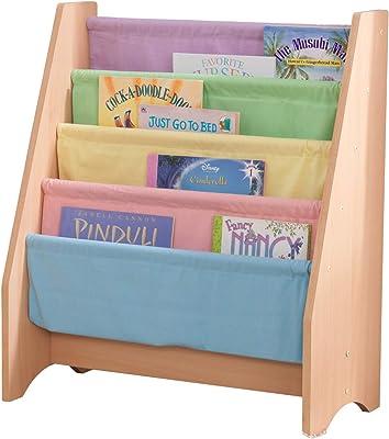 KidKraft Wood and Canvas Sling Bookshelf Furniture for Kids – Pastel & Natural, Gift for Ages 3+