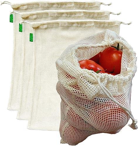 """AUXIN™,Reusable Grocery Cotton Mesh Produce Bags【Large 13"""" x 15""""】,100% Cotton Vegetable/Fruit Storage Bags,Premium Qu..."""