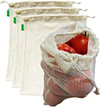 "AUXIN™,Reusable Grocery Cotton Mesh Produce Bags【Large 13"" x 15""】,100% Cotton Vegetable/Fruit Storage Bags,Premium Quality..."