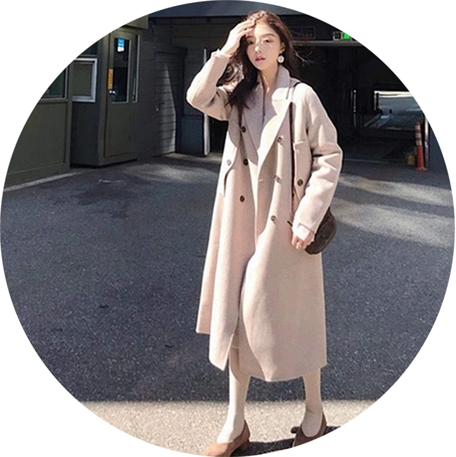100Expectations fashion coat Winter Elegant Womens Wool Blend Turn Down Collar Loose Long Overcoat Outwear Jacket