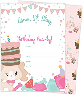 Puppy Dog Doggy Style 2 Happy Birthday Invitations Invite Cards (25 Count) with Envelopes and Seal Stickers Boys Girls Kids Party (25ct)
