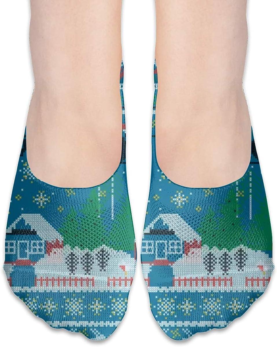 No Show Socks Women Men For Christmas Reindeer Vintage Hipster Flats Cotton Ultra Low Cut Liner Socks Non Slip