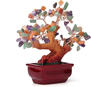 sansheng Natural Colored Crystal Tree, Crystal Tree Bonsai Decoration, Rainbow Mixed Gem Tree Amethyst, Quartz Cluster Base Bonsai Financial Sculpture Characters