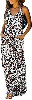 GOSOPIN Women Summer Printed Pocket Tunic Dresses Leopard Maxi Dress