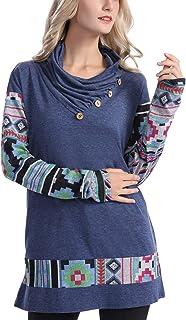 ANGGREK Women Geometric Print Cowl Neck Sweatshirts Tunic Tops