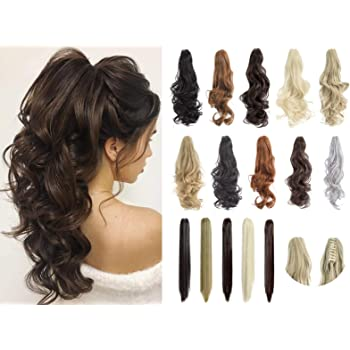 """Felendy Ponytail Extension Claw 18"""" 20"""" Curly Wavy Straight Clip in Hairpiece One Piece A Jaw Long Pony Tails for Women Ash Blonde"""