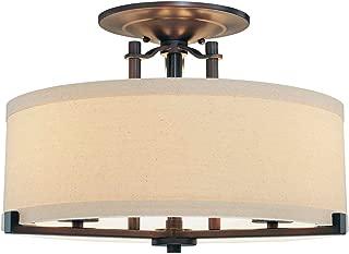 Minka Lavery Semi Flush Mount Ceiling Light 4499-298, Ansmith Glass Lighting Fixture, 3 Light, 180 Watts, Bronze