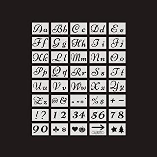40 PCS 80 Designs Letter Stencils for Painting on Wood Alphabet with Calligraphy Font Upper and Lowercase Letters Reusable Holiday Plastic Art Craft Stencils with Numbers and Signs