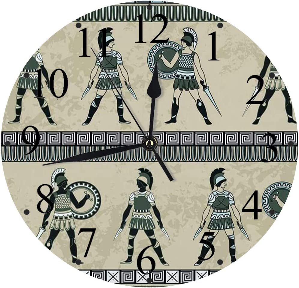 LUHUN Reloj de Pared Moderno,Antigüedades con Luchadores griegos Antiguos y Armadura étnica Tradicional vintagereloj de Cuarzo de Cuarzo Redondo No-Ticking para Sala de Estar 30 cm