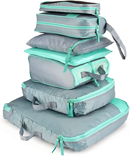 AIZBO 7 Set Waterproof Packing Cubes Travel Luggage Organisers Suitcase Storage Bags-2 Clothing Pouches + 2 Premium B...