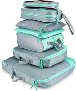 AIZBO 7 Set Waterproof Packing Cubes Travel Luggage Organisers Suitcase Storage Bags-2 Clothing Pouches + 2 Premium Bra Underwear Bag + 1 Digital Accessories Bag + 1 Toiletry Bags+1 Shoes Bag (Grey)