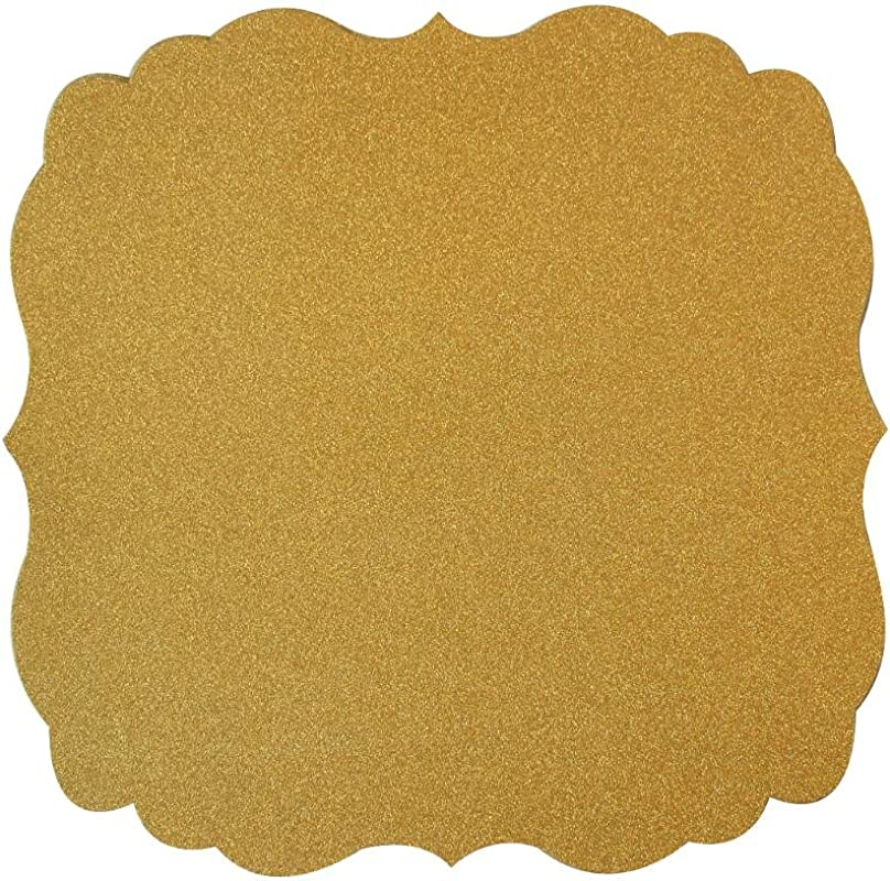 Mybbshower Gold Paper Placemat Wedding Plate Chargers Anniversary Party Table Decoration 12 Inch Pack Of 12
