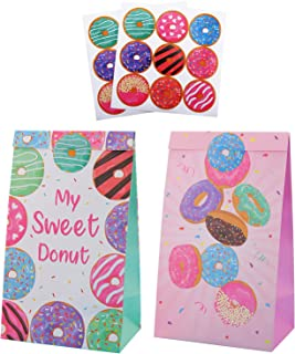 Donut Dessert Candy Theme Party Favor Bags with Stickers, Girls Boys Kids Party Supplies Wrapped Treat Bags for Happy Birt...