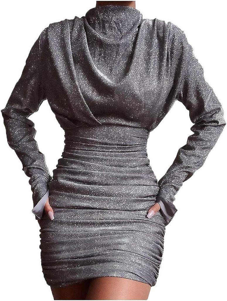Sayhi Women Sexy Turtleneck Glitter Dress Sequin Splice Evening Mini Dress Cocktail Wrap Long Sleeves Night Out Dresses
