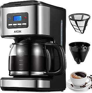 Cafetière Electrique à Filtre, Cafetière Programmable 12 tasses avec Carafe en Verre, Système Anti-Gouttes, Sans BPA, 900W...
