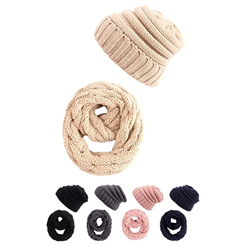 04249d44ca2b2 STYLE SLICE Cable Knit Hat and Scarf Sets Mens Womens Unisex - Beanie Circle  Loop Infinity
