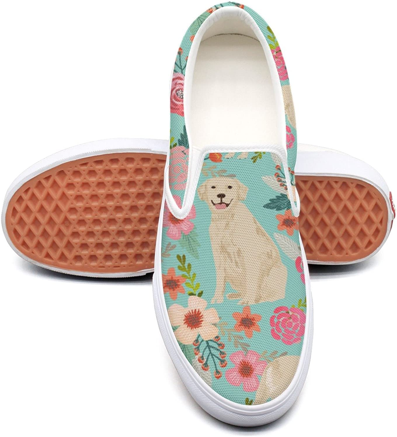 Hjkggd fgfds Casual golden Retriever Dog Flower Woman Canvas shoes