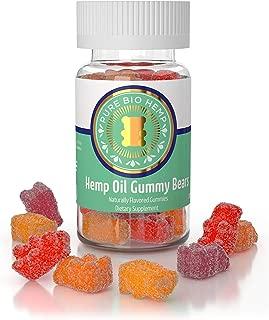 PureBio Organic Hemp-Oil Gummie Bears 500milligram- 25milligram per Gummy - Assorted Fruit Flavors for Natural Relief