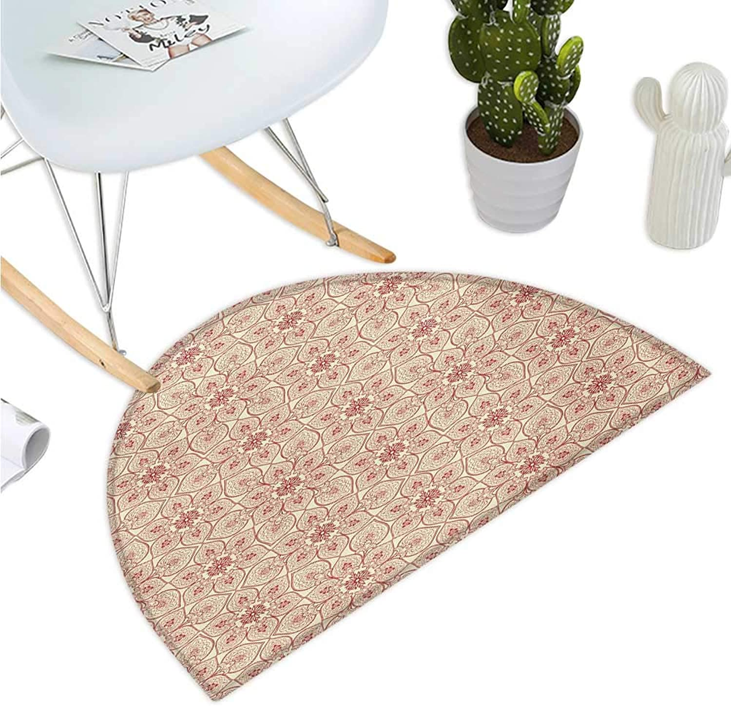 Antique Semicircular Cushion Curved Tree Branch with Fantastic Flowers Leaves Flourish Asian Tile Pattern Entry Door Mat H 43.3  xD 64.9  Dark Coral Beige