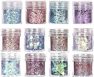 JuguHoovi,Nail Sequins,Nail Sequins Set 12 Colors,Chunky Glitter Make Up Glitter for Face Glitter Nails Glitter Body Glitter for Halloween Masquerade Party Glitter Nail Art
