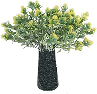 Beferr Artificial Green Pine Plants (Pack of 7) Leaves Spray Faux Fake Greenery Shrubs Yellow