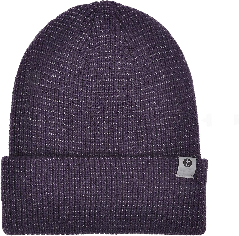 Reflective Running Beanie Warm Thick Winter Knit Enhanced Safety Walking at Night Skull Hat for Women Men Kids