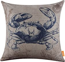 LINKWELL 18x18 Retro Blue Crab Sea Marine Burlap Cushion Covers Pillow Case