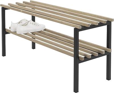 Spinder Design SR151-22-14 Étagère à Chaussures, Acier, chêne, Noir, 34 x 100 x 45cm