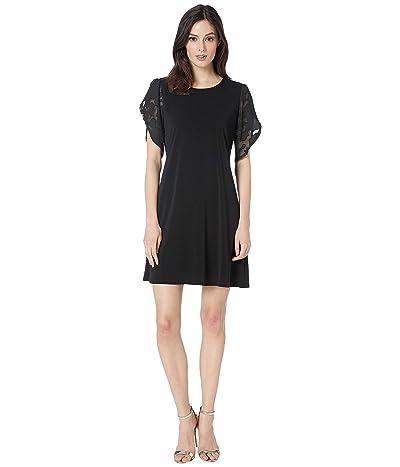 CeCe Floral Clip Sleeve Crepe Knit Dress (Rich Black) Women