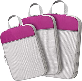 Compression Packing Cubes, Lifinity 3 Pcs Expandable Luggage Organizers Travel Cubes for Packing with Durable Zipper and Mesh Top, Purple (Purple) - LPCD0103