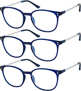 Reading Glasses 3 Pair Stylish Color Readers Fashion Glasses for Reading Men & Women