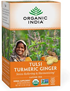 Sponsored Ad - Organic India Tulsi Turmeric Ginger Herbal Tea - Stress Relieving & Harmonizing, Immune Support, Healthy In...