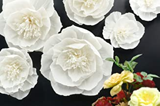 Letjolt Artificial Paper Flower White Paper Flower Thanksgiving Decorations for Wall Wedding Backdrop Baby Shower Bridal Shower Nursery Wall Decor(White Set 6)