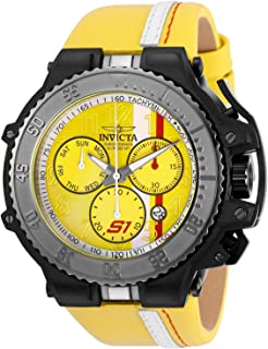 Men's S1 Rally Stainless Steel Quartz Watch with Leather Calfskin Strap, Yellow, 33.3 (Model: 28400)