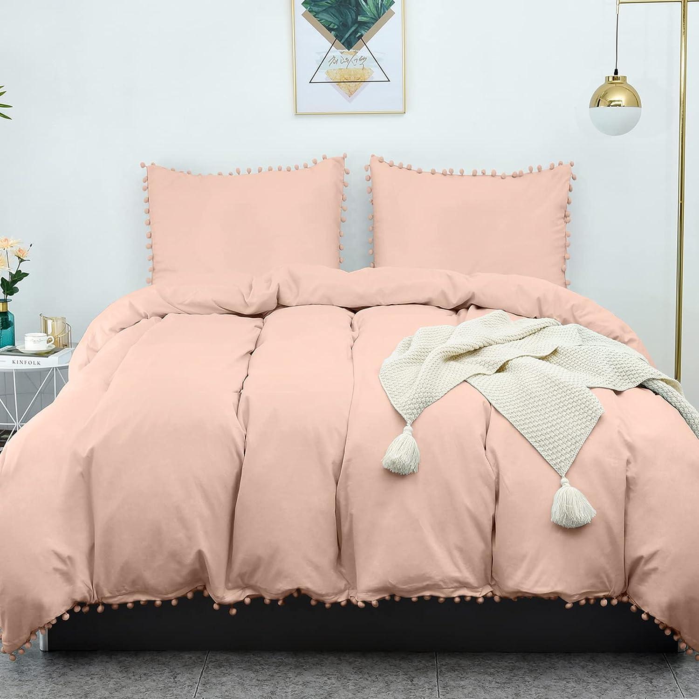 LHKIS Limited [Alternative dealer] time sale Duvet Cover Queen Pink Farmhouse S Mocha Set