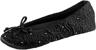 isotoner Ballerina Slippers with Terry Lined and Rose Quilt womens Ballet Flat