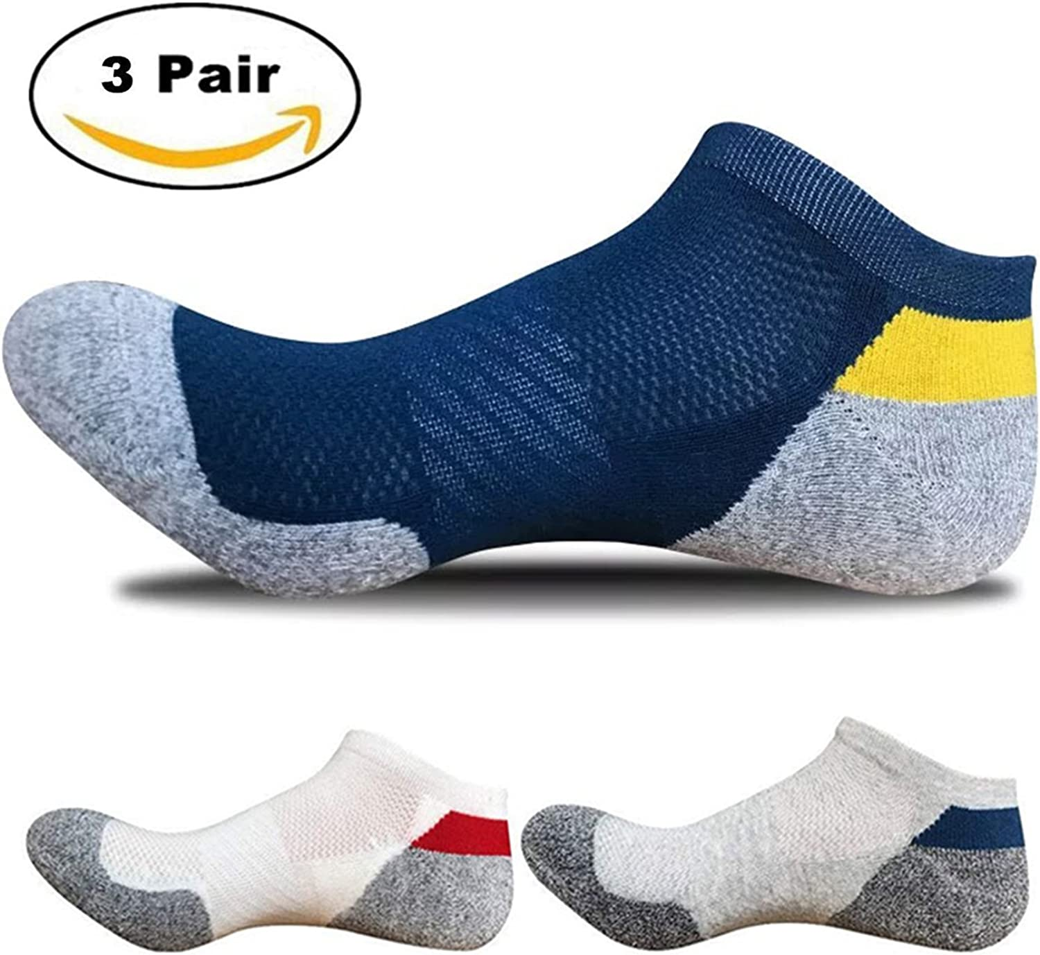 5 Pairs Mens Anklet Socks No Blister Terry Cushioned Breathable Moisture Wicking Athletic Socks for Hiking Running Cycling