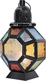Lewondr Retro Iron Candle Lantern, Portable Moroccan Wrought Iron Stained Glass Candle Holder Hanging Lamp Horse Light Wind Lantern for Home Decor – Black + Colorful