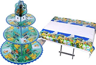 ELSANI Pikachu Cupcake Tower Cake Stand Dessert Tree Display Stand Table Cloth For Baby Showers, Birthday Party