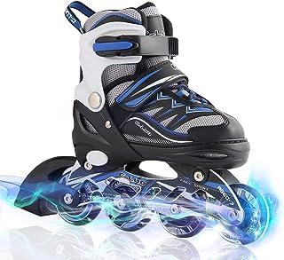 TianYan インラインスケート ローラースケートサイズ調整可能 全ウィールが光る 大人 キッズ 子供用 初心者向け メッシュ 通気性抜群 ローラーシューズ ローラー