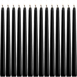 YIH Taper Candle 14 Pcs Unscented Black Taper Candle