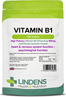 Lindens Vitamina B1 tiamina 100 mg en comprimidos | 100 Paquete | Comprimidos superfuertes con un 7000 %