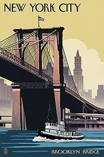 New York - Brooklyn Bridge (12x18 Art Print, Wall Decor Travel Poster)