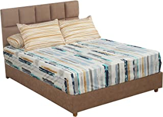 طقم ملاية سرير مقلم من المأمون، 260×240 سم - 4 قطع