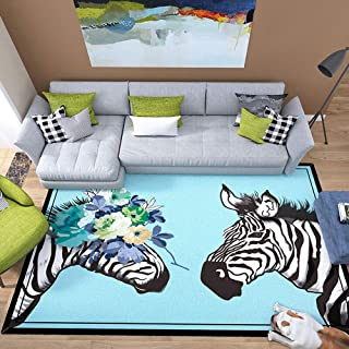 LOUUG Zebra Rug Sea Blue Gripper for Wooden Floors Non Slip Grip Carpet Sticker Anti Slip to Keep Your Rug in Places & Makes Corners Flat Thick Luxurious Soft 2.5cm Dense Pile Carpet(100cm X 150cm)