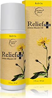 Relief Plus Arnica Muscle Oil – Extra Strength Roll On - Cypress, Eucalyptus & Helichrysum Essential Oils & Menthol. All N...