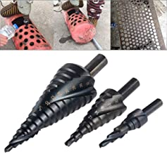 HOHXEN Juego de brocas de escalón en espiral de 3 piezas [4-12 mm/4-20 mm/4-32 mm, tamaño total 29], taladro escalonado de vástago redondo triangular con vástago en espiral (Negro)