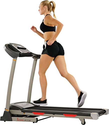 Sunny Health & Fitness Portable Treadmill with Auto Incline, Device Holder, Pulse Grips, 220 LB Max Weight and Shock ...