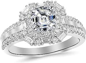 1.46 Carat Designer Twisting Eternity Channel Set Four Prong Diamond Engagement Ring with a 0.74 Carat Asscher Cut D Color VS1 Clarity Center Stone