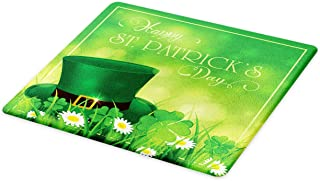Ambesonne St. Patrick's Day Cutting Board, Happy Greetings for Cultural Day Shamrock Daisy and Leprechaun Hat European, Decorative Tempered Glass Cutting and Serving Board, Large Size, Green